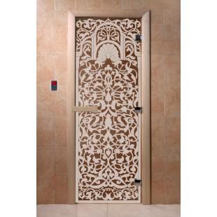 """Дверь для сауны DoorWood Арт Серия """"Флоренция"""" 190х70 (бронза)"""