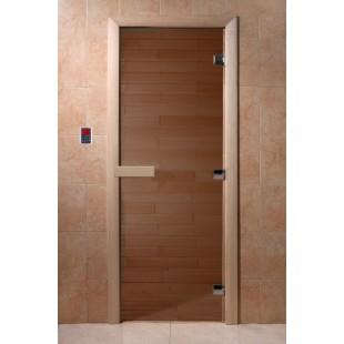Дверь для бани, каленое стекло бронза матовое, коробка хвоя