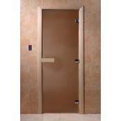 """Дверь для сауны DoorWood """"Теплая ночь""""  190х70 (бронза матовое, коробка хвоя)"""