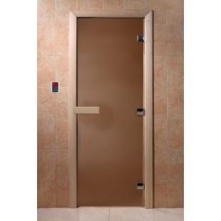 Дверь для бани каленое стекло (бронза матовое, коробка хвоя)
