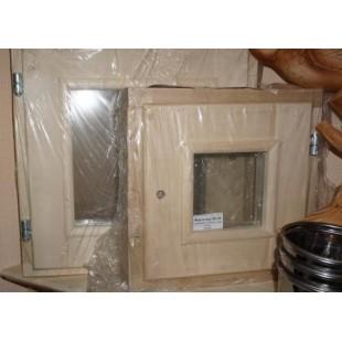 Рама для сауны, бани  DoorWood стеклопакет (липа-береза) размер 30 х 30 см.