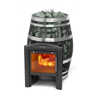 печь-сетка  для бани Саяны Carbon XXL Витра на дровах и топливном брикете RUF