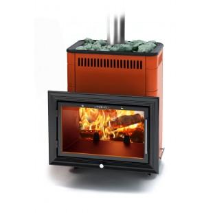 Банная печь  Витрувия Inox БСЭ на дровах и топливном брикете RUF