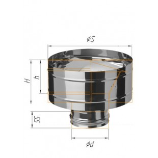 Зонт-К с ветрозащитой (430/0.5 мм) Ф120 мм