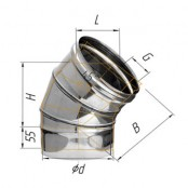 Отвод угол 135° (430/0.5 мм) Ф120