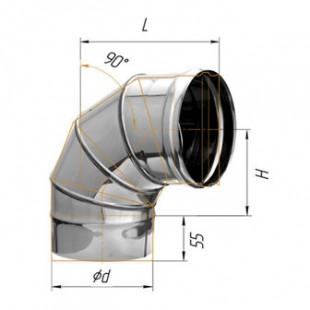Отвод угол 90° (430/0.8 мм) Ф150