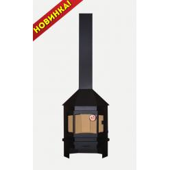 """Печь-камин """"Мюнхен"""" пристенно- угловая 14 кВт (черная и графит)"""