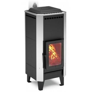 печь-камин отопления,  отопительно-варочная, на дровах и топливном брикете РУФ RUF. Работает на одной закладке дров до 8 часов!