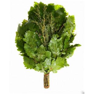Веник для бани и сауны- дубовый (упакованный) с разными травами.