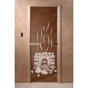 """Дверь для сауны DoorWood Арт серия """"Банька"""" 190х70 (бронза)"""