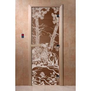 """Дверь для сауны DoorWood Арт Серия """"Мишки в лесу"""" 190х70 (бронза)"""