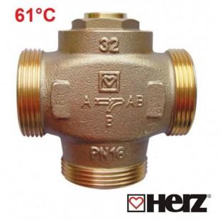 Трехходовой клапан термосмесительный, температура потока около 61 ° С