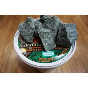 Камень для бани и сауны жадеит колотый в пластиковом ведре, печи-каменки дровяные и электрические