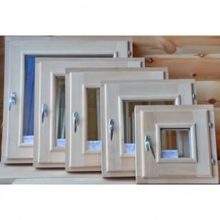 Окно для сауны, бани  DoorWood стеклопакет (липа-береза) размер 40 х 40 см.