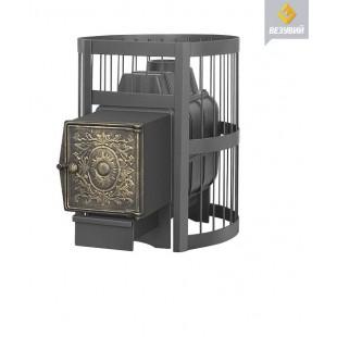 Банная печь  чугунная Везувий ЛЕГЕНДА Стандарт 16 ДТ-4 на дровах и топливном брикете RUF