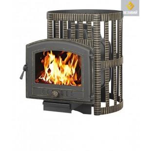 Банная печь  Везувий ЛЕГЕНДА ковка16 (224) на дровах и топливном брикете RUF