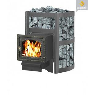 Банная печь  Везувий ЛЕГЕНДА Стандарт 12 (ДТ-3С) на дровах и топливном брикете RUF