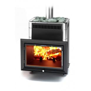 Банная печь  Витрувия Inox БСЭ  цвет антрацит НВ на дровах и топливном брикете RUF