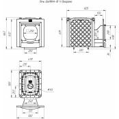 Чугунная печь для бани и сауны Былина-18 Ч Панорама, парилка: 10-18 куб.м.
