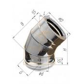 Сэндвич-отвод 135° (430/0.5мм + нерж.) Ф120х200