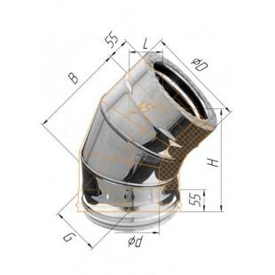 Сэндвич-отвод 135° (430/0.8мм + нерж.) Ф150х210