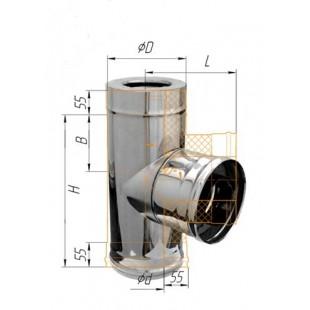 Сэндвич-тройник 90° (430/0.5мм + нерж.) Ф150х210