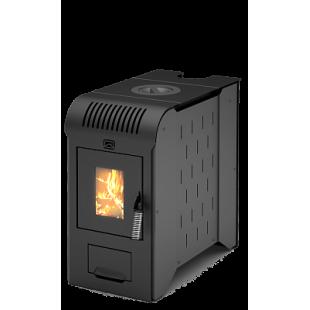 твердотопливная печь отопления Метеор-220 со встроенной тепловой пушкой. (Тепловая пушка работает от электричества.)  на   дровах и топливном брикете RUF