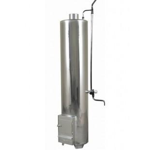 Водонагреватель дровяной из нержавеющей стали со встроенной стальной топкой, емкость бака 90 литров